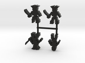 Pirate Skeleton Meeple, mixed, 4-set in Black Natural Versatile Plastic