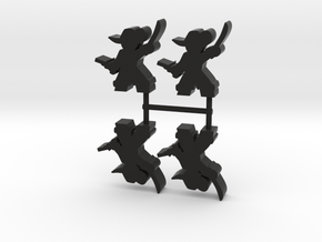 Pirate Captain Meeple, sword pistol - 4-set in Black Natural Versatile Plastic