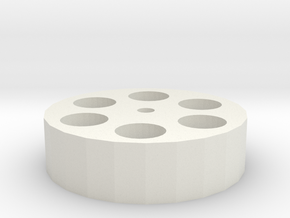 dia5 x 6mm Magnet Holder 22mm o/d 1.95mm bore in White Natural Versatile Plastic