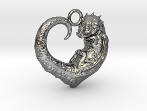 Baby Dragon Heart in Fine Detail Polished Silver