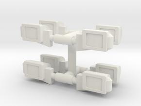 1/14th Peterbilt type Square Single Headlights in White Natural Versatile Plastic