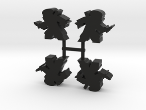Ninja Meeple, stealthy dagger, 4-set in Black Natural Versatile Plastic