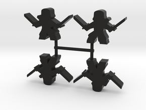 Ninja Meeple, dual katanas, 4-set in Black Natural Versatile Plastic