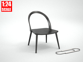 1:24 Minimalist Chair Version 'A' for Dollhouses in Black Natural Versatile Plastic