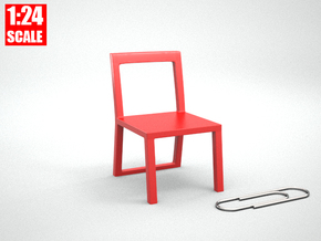 1:24 Minimalist Chair Version 'B' for Dollhouses in Red Processed Versatile Plastic
