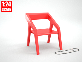 1:24 Minimalist Chair Version 'D' for Dollhouses in Red Processed Versatile Plastic