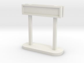 OO Station Sign - Maron Double in White Natural Versatile Plastic