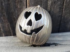 Halloween 2018 HEART Pumpkin Pendant ⛧ VIL ⛧ in Polished Bronzed-Silver Steel