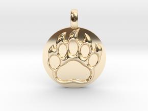 BEAR PAWN Animal Totem Jewelry pendant  in 14K Yellow Gold