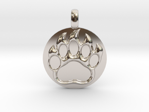 BEAR PAWN Animal Totem Jewelry pendant  in Platinum