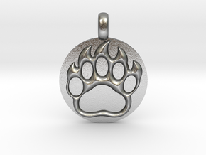 BEAR PAWN Animal Totem Jewelry pendant  in Natural Silver