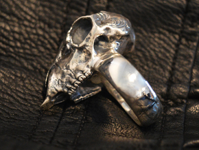 Sheep Skull Ring in Antique Silver