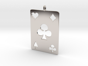 Ace of clubs, pendent in Rhodium Plated Brass