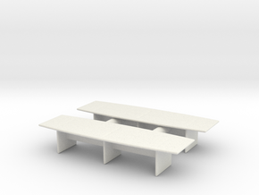 Modern Office Desk (x2) 1/87 in White Natural Versatile Plastic