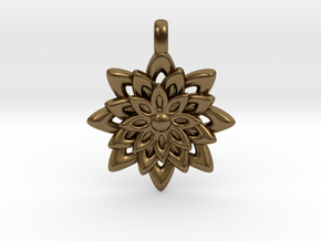 Lotus Flower Symbol Jewelry Necklace in Natural Bronze