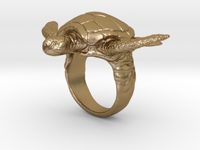 Turtle Ring in Polished Gold Steel: 10 / 61.5