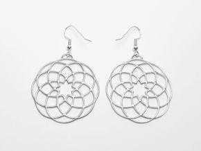 Mandala pendant & earring in Polished Silver