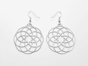 Mandala pendant & earring in Polished Silver