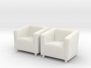ArmChair 02. 1:48 Scale  in White Natural Versatile Plastic