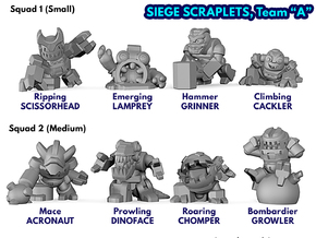 Siege Scraplets - Team A in Smooth Fine Detail Plastic: Large