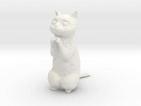 1/6 Praying / Begging Cat in White Natural Versatile Plastic