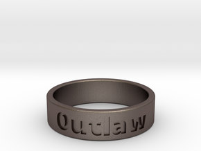 Outlaw Mens Ring 22.2mm Size13 in Polished Bronzed Silver Steel