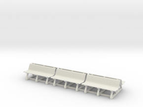 Wood Bench 01. 1:87 Scale (HO) in White Natural Versatile Plastic
