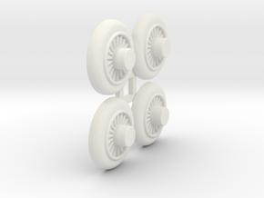 Wooden Railway Wheel - Full Size - 4 Pack in White Natural Versatile Plastic
