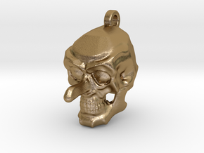 Aquiline Skull Keychain/Pendant in Polished Gold Steel