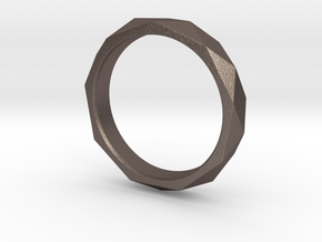 Nonagon Faceted Ring in Polished Bronzed-Silver Steel: 8 / 56.75