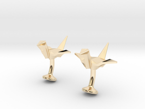 Origami Crane Cufflinks in 14K Yellow Gold