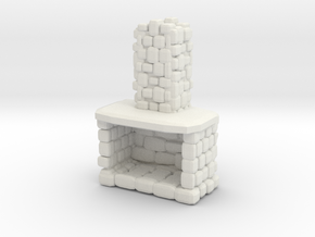 Stone Fireplace 1/76 in White Natural Versatile Plastic