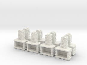 Stone Fireplace (x8) 1/160 in White Natural Versatile Plastic