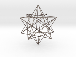 Modern miminalist dodecahedron geometric pendant in Polished Bronzed-Silver Steel: Extra Small