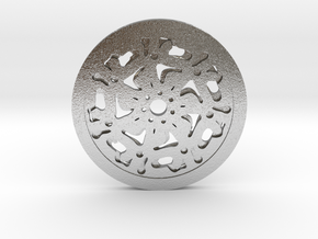 Pendent (rose pattern) in Natural Silver