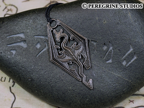 Pendant - Imperial Dragon in Polished and Bronzed Black Steel
