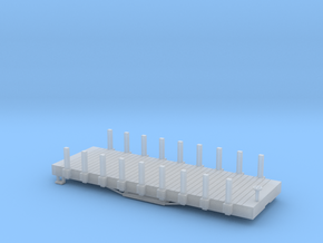 N USMRR FLATCAR 9 WITH STAKES in Smooth Fine Detail Plastic
