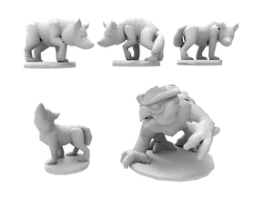 3 wolves and 1 owlbear in White Natural Versatile Plastic