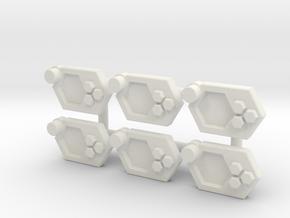 Wrist Comms, Hex (5mm) in White Natural Versatile Plastic: Medium