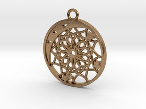 Moon, Stars and Dream Catcher Pendant in Natural Brass