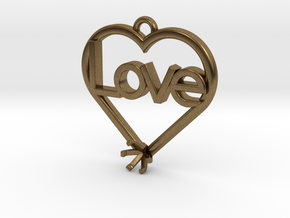 "Heart Pendant ""Love"" (Mount 4.28mm) in Natural Bronze"