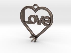 "Heart Pendant ""Love"" (Mount 4.28mm) in Polished Bronzed Silver Steel"