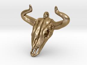 Bull Skull Keychain/Pendant in Polished Gold Steel