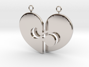 Heart Necklace Halves in Rhodium Plated Brass