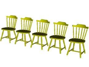 1/48 scale wooden chairs set A x 5 in Smooth Fine Detail Plastic