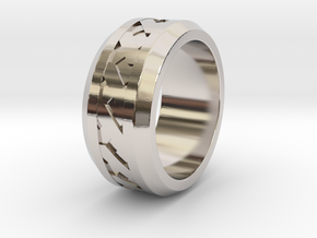 Men's X-Band Ring (Smooth) in Rhodium Plated Brass