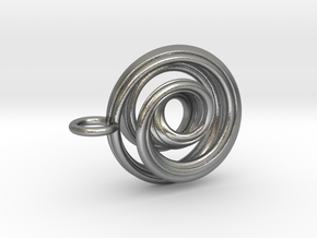 Single Strand Spiral Mobius Pendant in Natural Silver