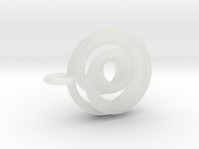 Single Strand Spiral Mobius Pendant in Smooth Fine Detail Plastic