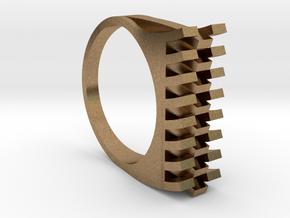 Tri-Fold Edge Ring - US Ring Size 07 in Natural Brass