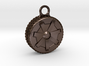 Cybertruck Wheel Key Chain in Polished Bronze Steel